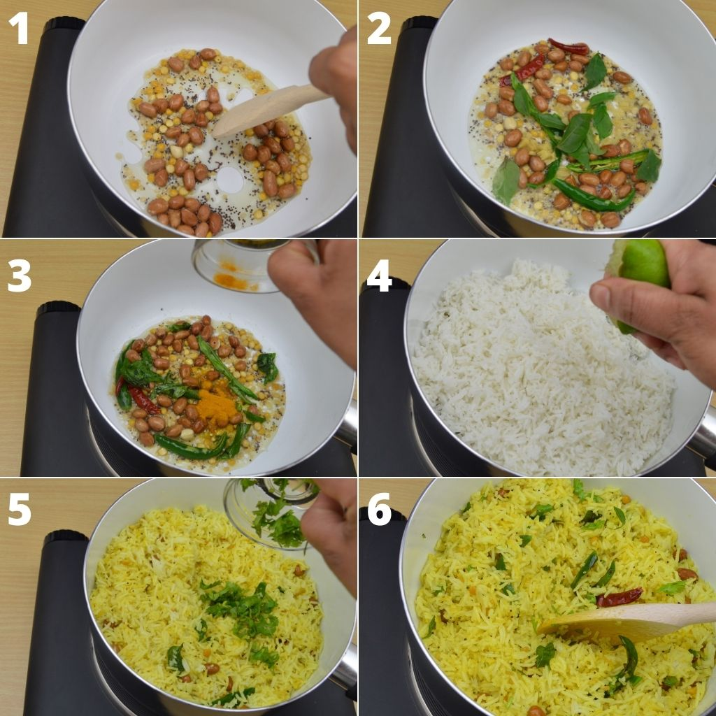 collage of 6 images showing the process of making indian lemon rice.