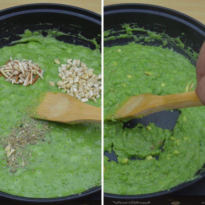 adding cardamom powder chopped almonds cashews in a halwa nad stirring them