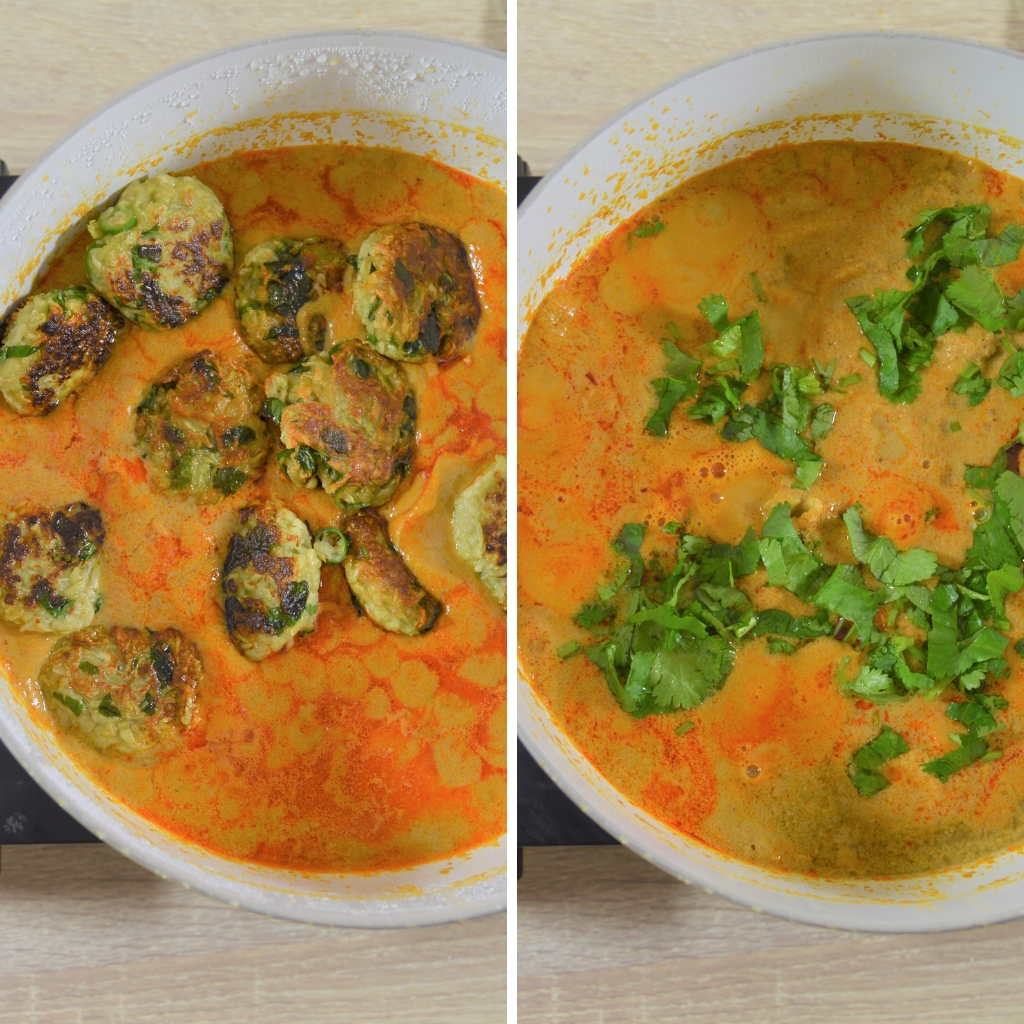 adding dumplings and coriander in curry