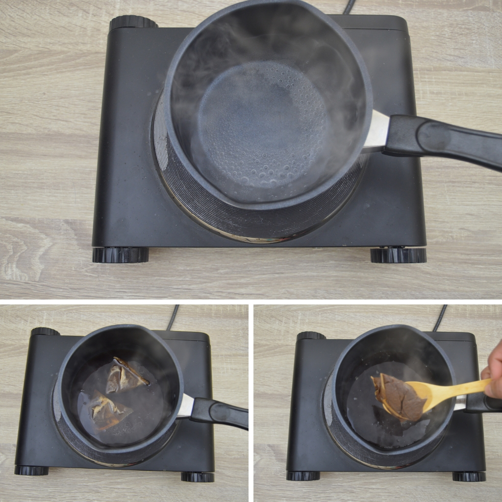 boiling water and teabags