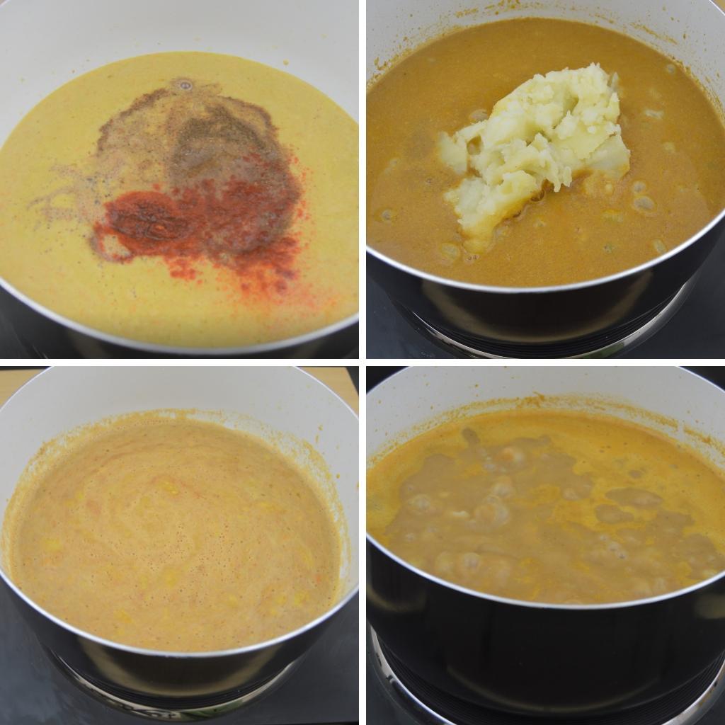 adding spices potato and cooking peas gravy