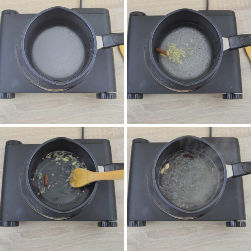 making lemon ginger cardamom sugar syrup