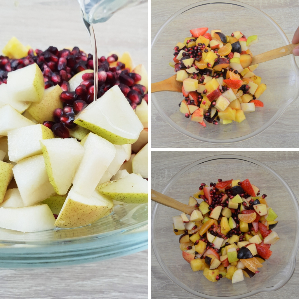 add lemon ginger dressing to fruit salad and mix gently