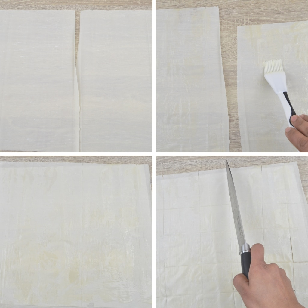 applying butter and cutting phyllo pastry sheet