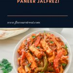 paneer jalfrezi in a white bowl with paratha and pinch bowl of onion slices placed behind and a text overlay on top.