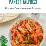 paneer jalfrezi in a white bowl with paratha and pinch bowl of onion slices placed behind and a blue text overlay on top.