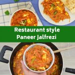 pinterest image with half showing 2m plates of curry and paratha with a bowl of curry and bottom image showing a hand holding bowl of curry over a large pan with text overlay in middle of image.