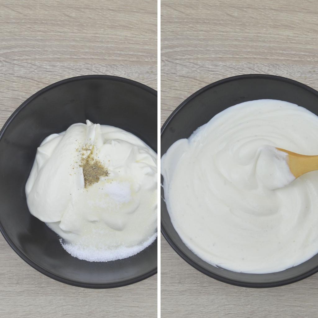 mixing yogurt sugar and cardamom powder