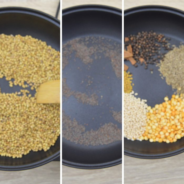 coriander seeds mustard and spices in a black pan