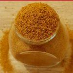 sambar spice blend in a glass jar