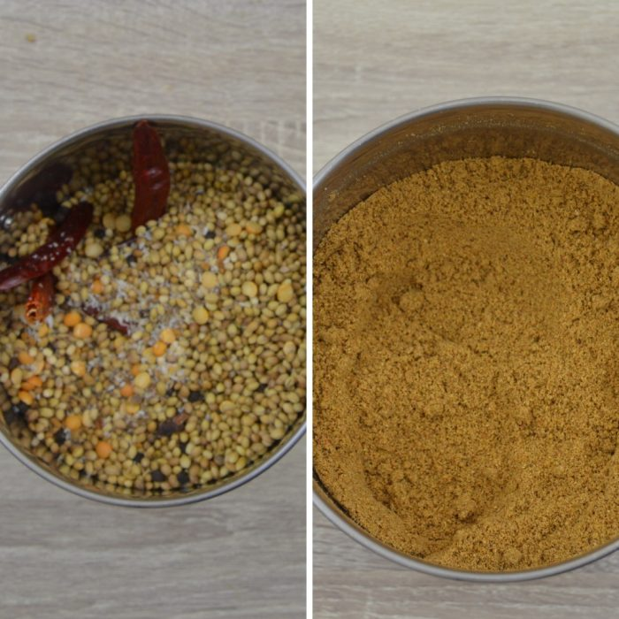 spices in a jar before and after grinding