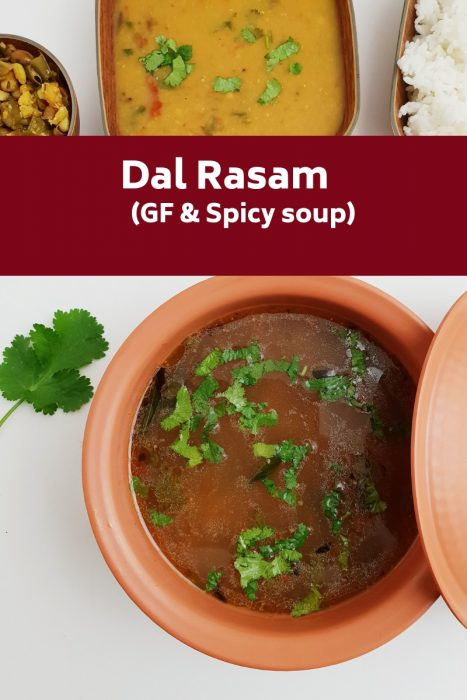 close up shot of dal rasam in a brown bowl