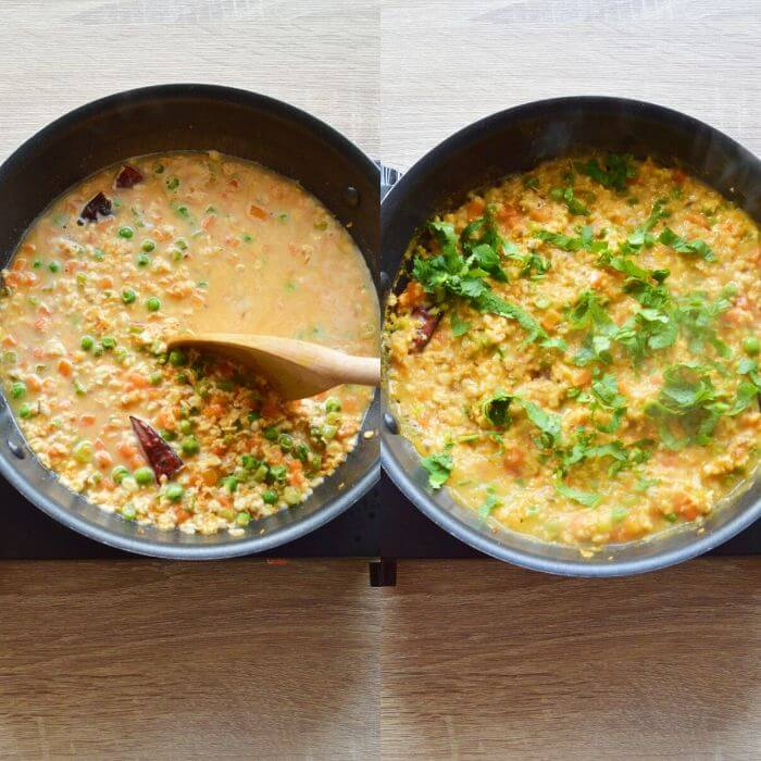 garnishing savoury oats porridge with coriander.