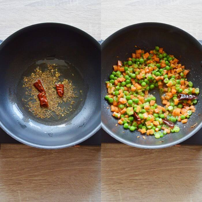 process of cooking spices and vegetables in oil.