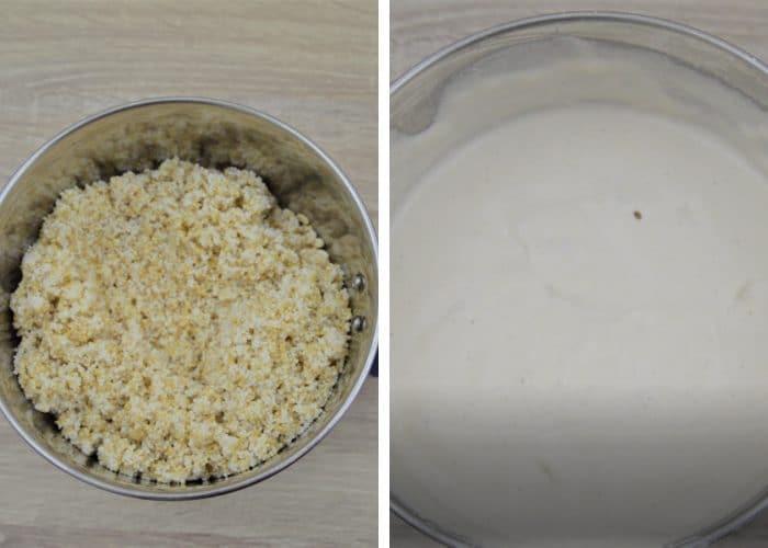 process shot of ground millets in a blender jar