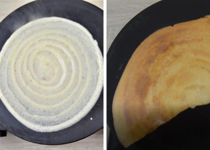 process shot of making dosa on a pan