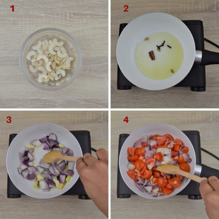 process shot of cooking onion tomato and cashew masala