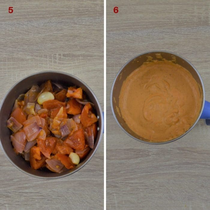 onion tomato cashew mixture in blender before and after grinding