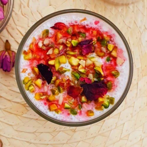 close up shot of lassi in a glass