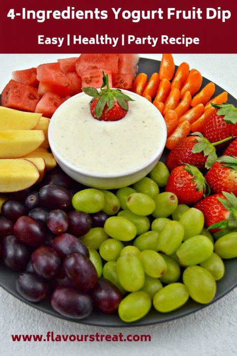 fruit platter with yogurt dip