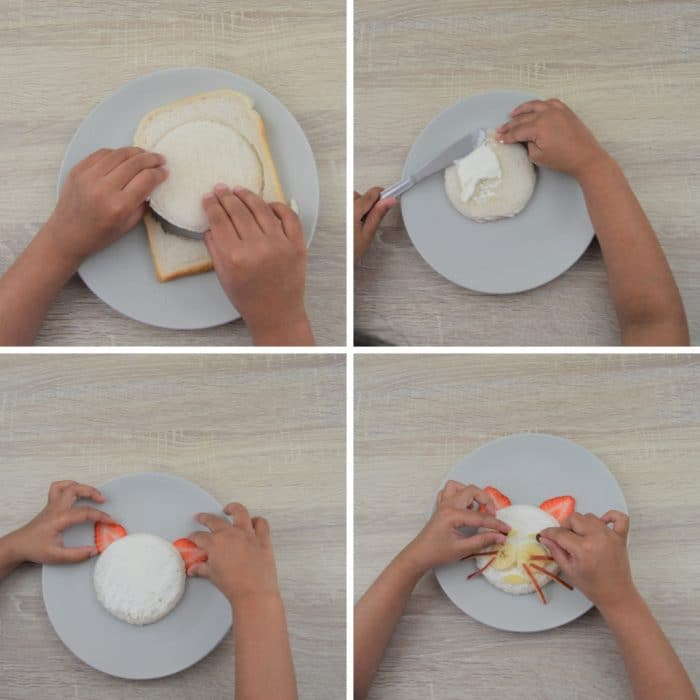 process shot of making open faced sandwich