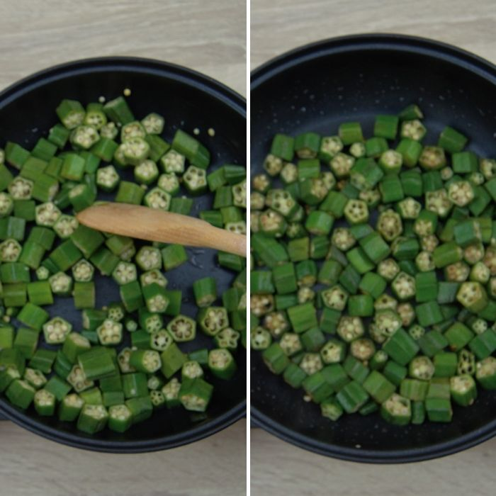 process shot of frying chopped okra pieces in a pan