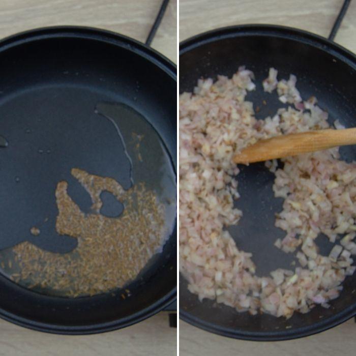 frying cumin and chopped onions in a pan