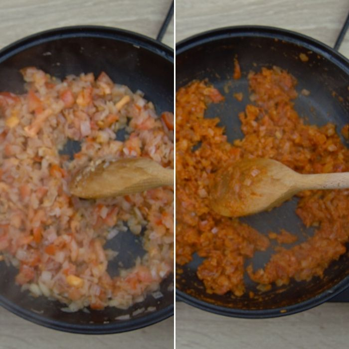 process shot of sauting tomatoes and spices
