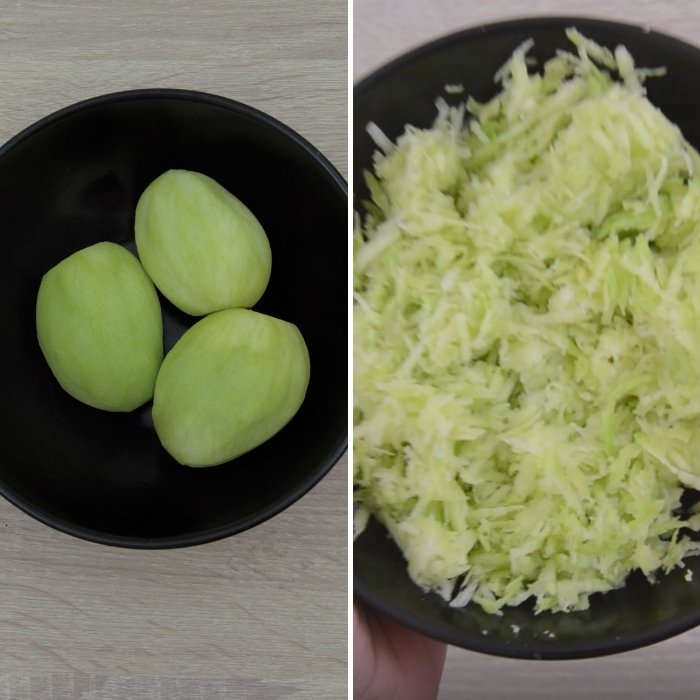 peeled and grated green mangoes