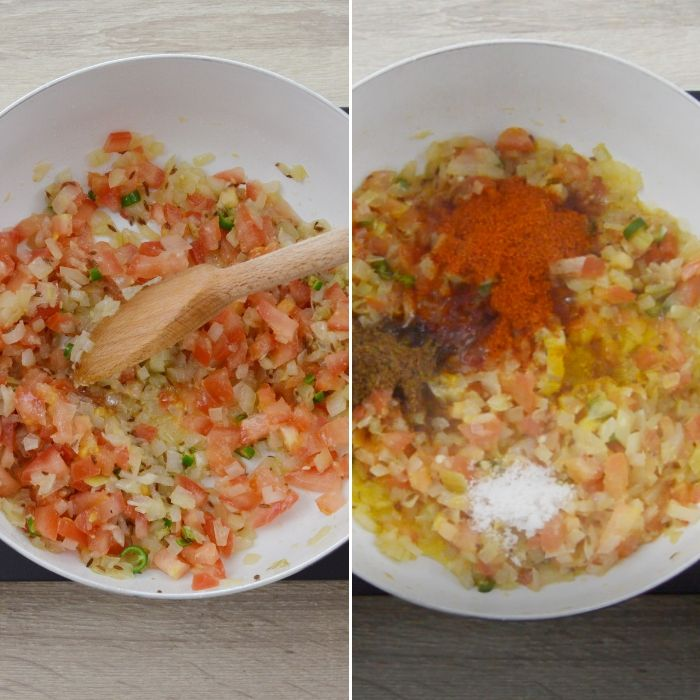process of cooking vegetables and spices in a white pan.