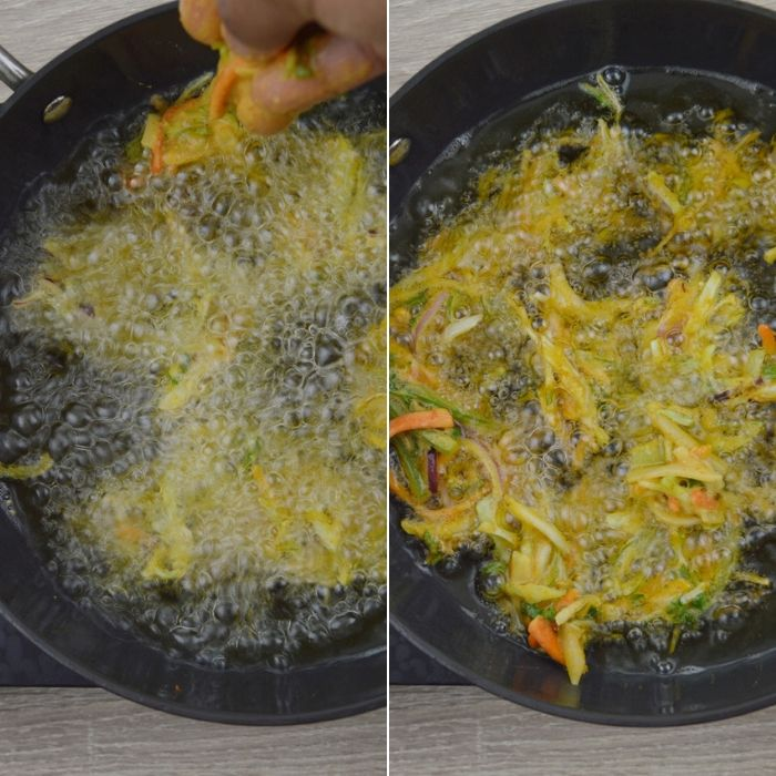 process of frying vegetable pakora in oil.