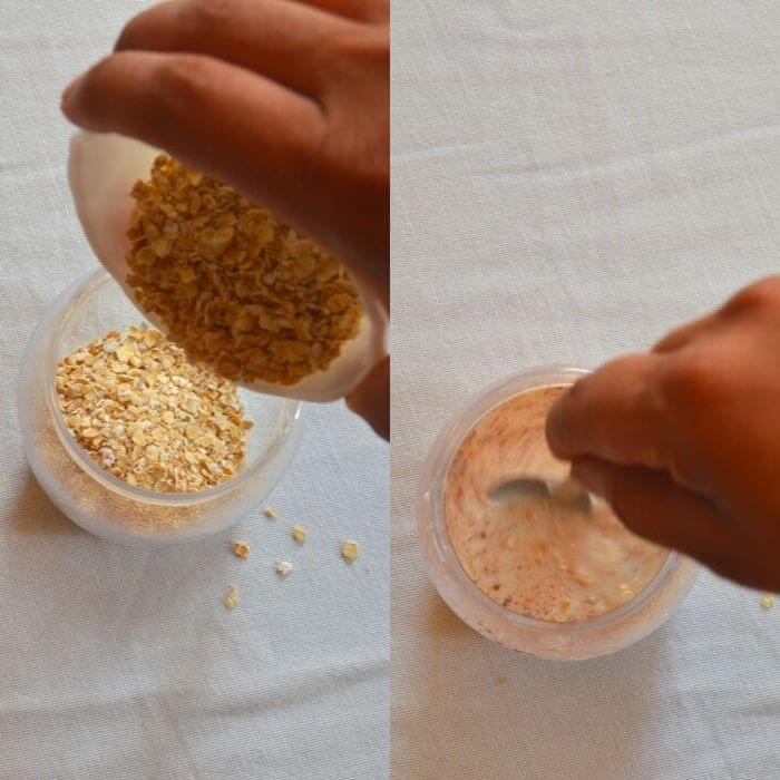 soaking oats with milk and other spices overnight in a jar.