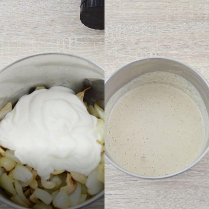 process of blending masala paste in a grinder jar.