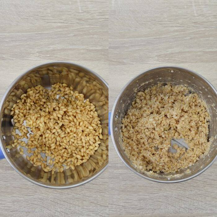 before and after blending wheat berry.