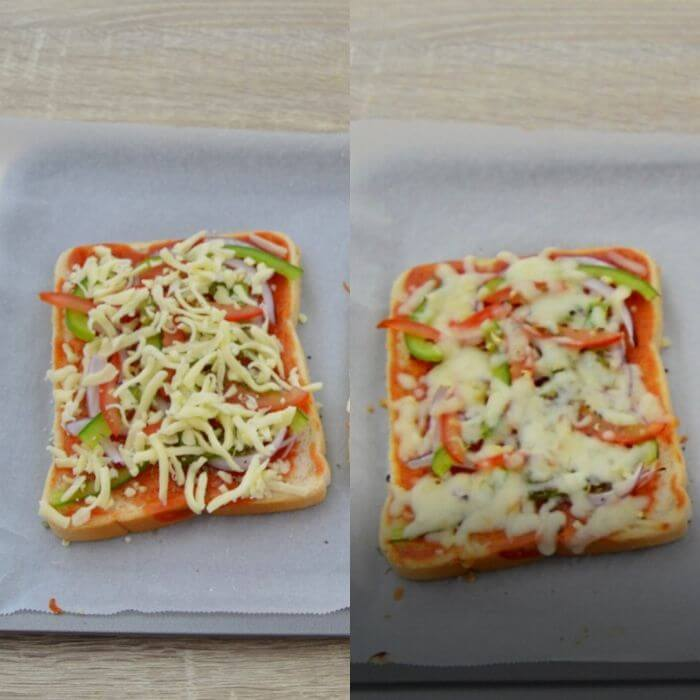 befor and after pics of baked bread pizza.