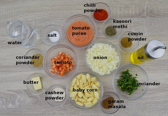 ingredients places in an individual bowls on a table.