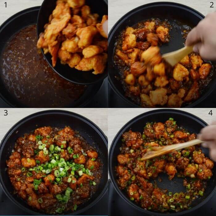 process of making honey garlic cauliflower.
