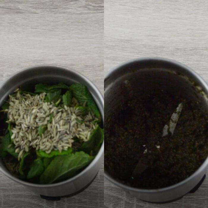 process of grinding mint and fennel seeds to make mint rice.