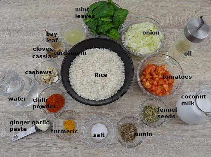 ingredients placed in individual bowls ready to make mint pulao.