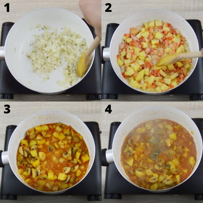 process of cooking potato mushroom curry.