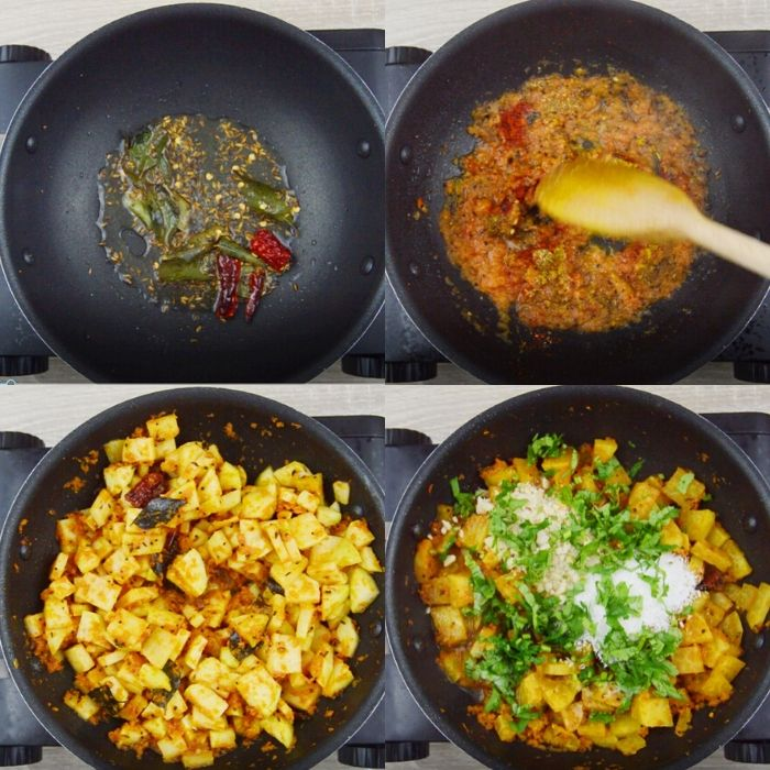 process of making kholrabi curry.