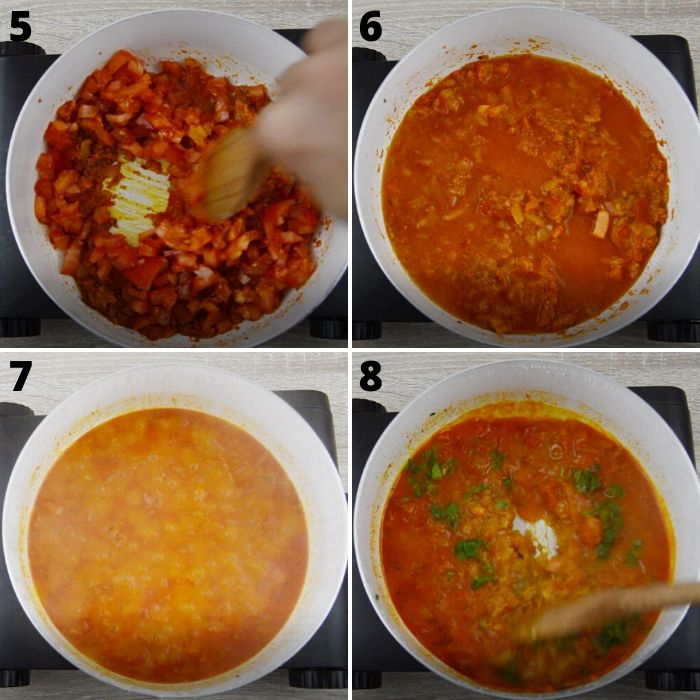 process of cooking tomatoes with onion masala.