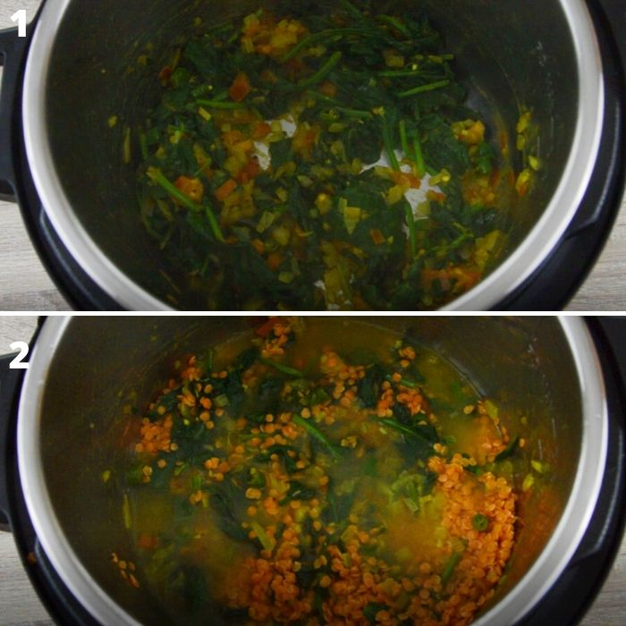 process of cooking spinach with onion-tomato based masala to make dal palak in instant pot.