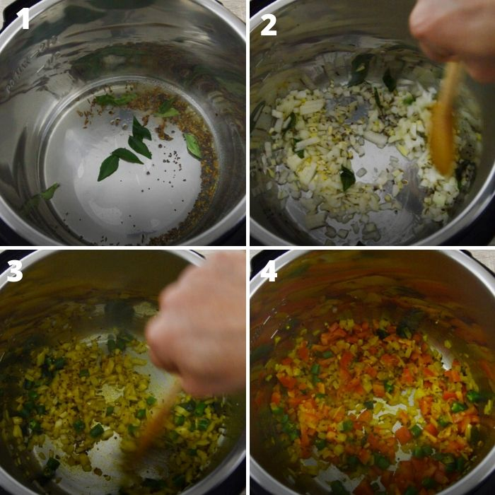 process of cooking onion, tomato with dry dry spices in a instant pot.
