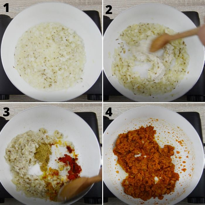 process of cooking onions, dry spices and ground masala in a white pan.