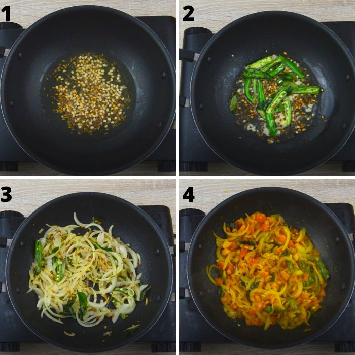 process of cooking vegetables with spices in a black pan.