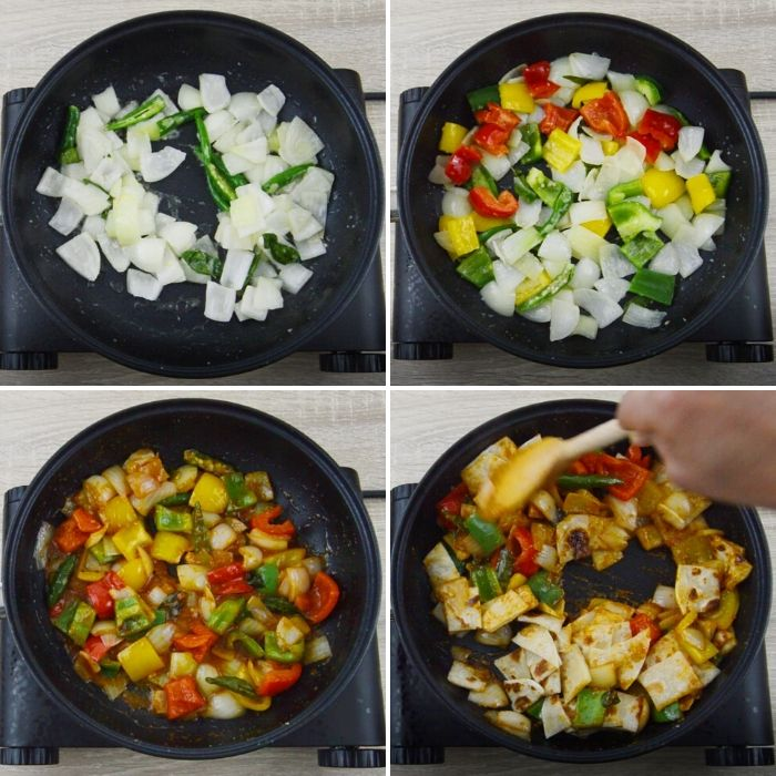 process of cooking chilli parotta in a black pan.