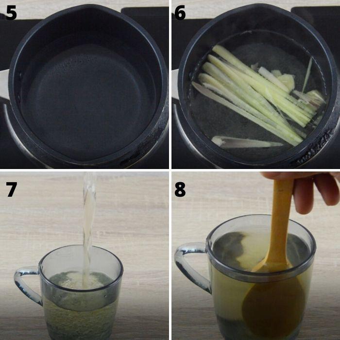 process of making lemongrass ginger tea in a black saucepan.