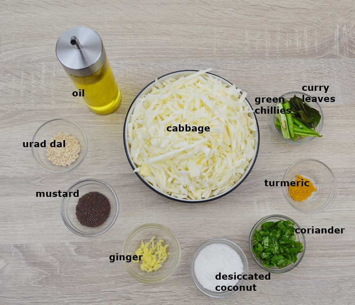 ingredients in individual bowls placed on a table.