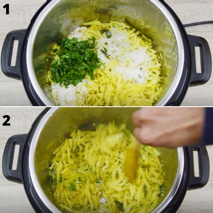 stiring in coconut and coriander to cabbage poriyal.